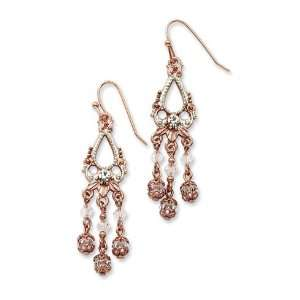 Rose tone and Silver tone Crystal Drop Earrings/Mixed Metal Jewelry
