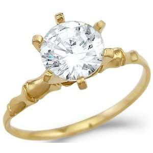 Yellow Gold Engagement Ring CZ Cubic Zirconia Jewelers Mart Jewelry