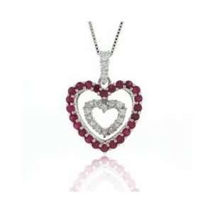 Sterling Silver with Red CZ Double Heart Pendant Jewelry