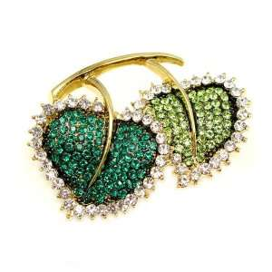 Perfect Gift   High Quality Elegant Leaf Brooch with Green