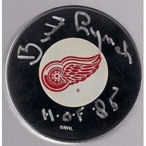 Budd Lynch Signed Detroit Red Wings Puck Hof 85 Sports Collectibles