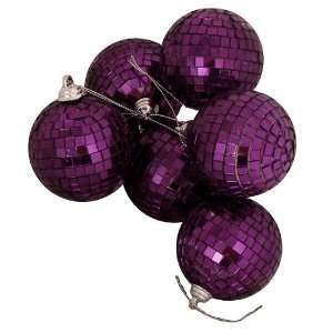 Purple Passion Mirrored Glass Disco Ball Christmas Ornaments 1.5