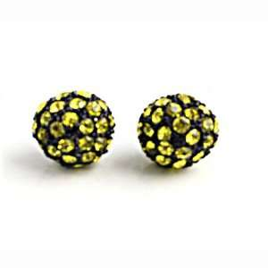 10mm YELLOW on BLACK Pave Crystal Disco Ball Stud Earrings Jewelry