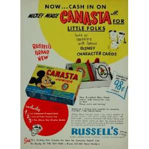 1950 Ad Disney Mickey Mouse Canasta Cards Russell Mfg
