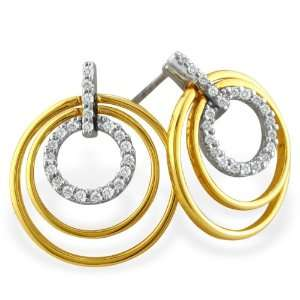 5ct Two Toned 14 Karat Gold Concentric Diamond Earrings Jewelry