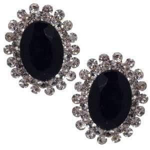 Barnardine Silver Jet Crystal Clip On Earrings Jewelry