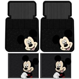 Mouse Face 5pc Combo Front Rear Car Floor Mats Steering Wheel Cover