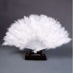 Mardi Gras Feather Plastic Hand Folding Fan White Toys & Games