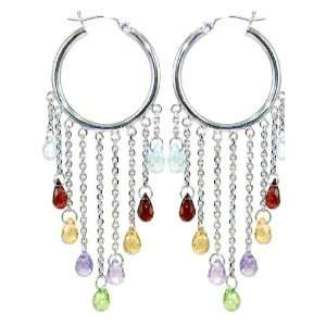 White Gold, Hoop Dangling Earring with Colorful Created Gems Jewelry