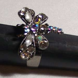 Gorgeous Black Dragonfly with Multi colored Gemstones Adjustable Ring