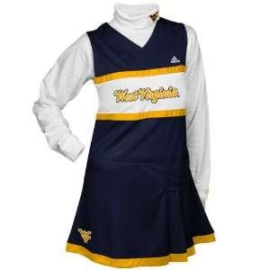 Girls Navy Blue White 2 Piece Turtleneck & Cheerleader Dress Set