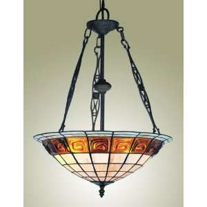 lite Stained Glass Bowl Pendant Light In Black With Amber Glass
