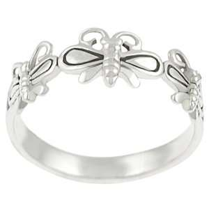 Sterling Silver Three Butterfly Band Ring Jewelry
