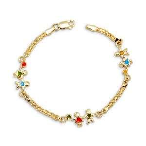 New Boy Girl 14k Yellow Gold 7 Chain Charm Bracelet Jewelry