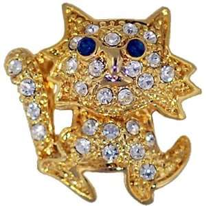 Gold Plated Kitty Cat Animal Brooch Pin Pugster Jewelry
