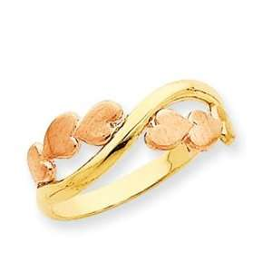 Rose and Yellow Gold Bypass Heart Ring/14kt Two Tone Gold Jewelry