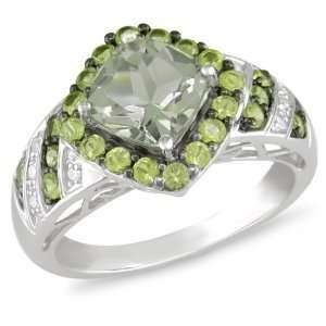 10k Gold Green Amethyst Peridot and Diamond Ring Jewelry