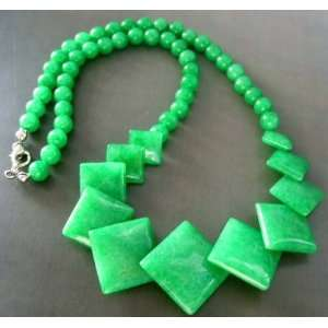 Green Jade Square Sphere Beads Necklace
