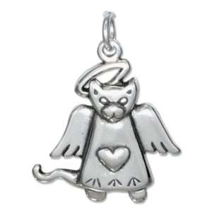 Sterling Silver Angel Cat Charm with Halo and Heart. Jewelry