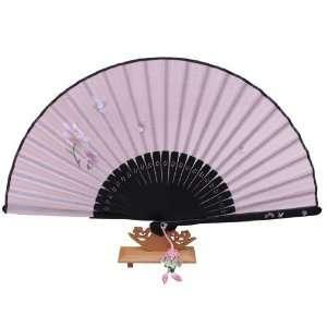 Silver J Handheld silk hand fan with silk fan case and