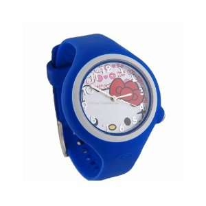 com Hello Kitty Round Shaped Watch Dial Rubber Watchband Wrist Watch