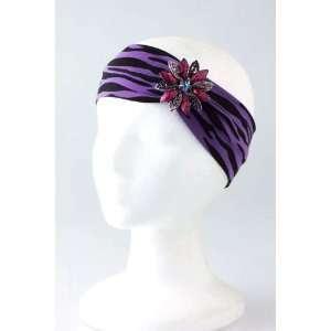 Fashion Hair Accessory ~ Purple Zebra Jewel Flower Accent