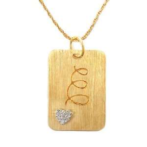 Gold Plated Sterling Silver with Diamond Accent E Initial Pendant