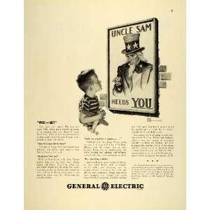 1942 Ad General Electric World War II Uncle Sam Boy Toy Airplane Art