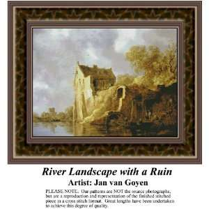 River Landscape with a Ruin, Counted Cross Stitch Patterns