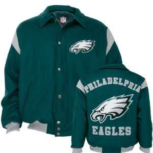 Philadelphia Eagles Team Color Wool Varsity Jacket Sports & Outdoors
