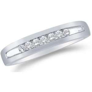 Size 7.5   14K White Gold Diamond MENS Wedding Band Ring   w/ Channel
