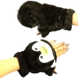 Winter Soft Fuzzy Furry Faux Fur Penguin Flip Fingerless Mitten Gloves