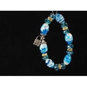 Swarovski Crystal Beads Bracelet Glass Silver Sky Blue