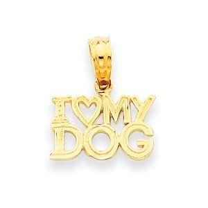 14k Gold I Heart My Dog Pendant Jewelry