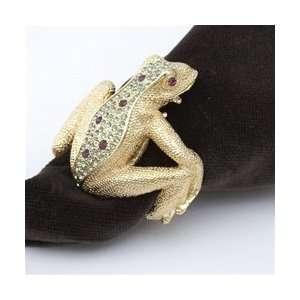 Objet Gold Frog Napkin Rings, Multicolor Swarovski Crystals Set/4