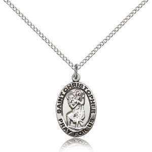 Sterling Silver St. Patron Saint Christopher Pendant Stainless Silver