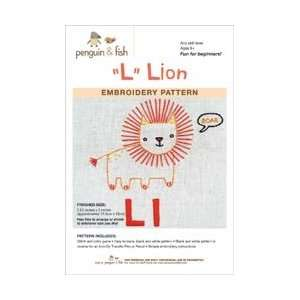 Penguin and Fish Embroidery Patterns Lion; 3 Items/Order