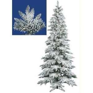 Pre Lit Slim Flocked Layered Utica Fir Artificial Christmas Tree