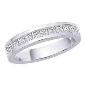 14K White Gold, Princess Cut Diamond Mens Ring (3/4 cttw