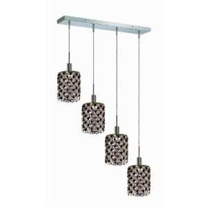 RC Mini 8 Inch High 4 Light Chandelier, Chrome Finish with Jet (Black