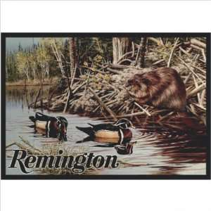 Remington Arms Beaver and Ducks Hunting Rug Size 2 8 x 3 10