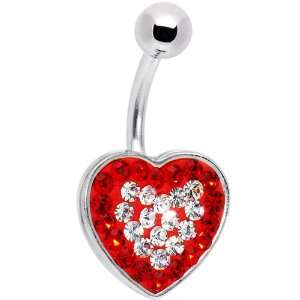 Romantic Red Jeweled Adoration Heart Belly Ring Jewelry