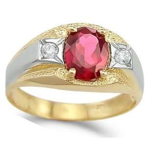 Mens Ring Oval Ruby Cubic Zirconia 14k White Yellow Gold Band 1.25 CT