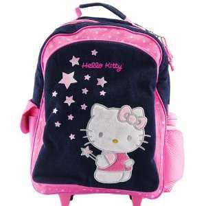 Hello Kitty Stars Blue Jean Rolling Backpack Full Size Toys & Games
