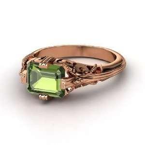 Acadia Ring, Emerald Cut Green Tourmaline 14K Rose Gold Ring Jewelry