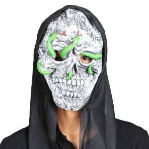 Halloween Scary Devil Mask with Green Snakes on the Face