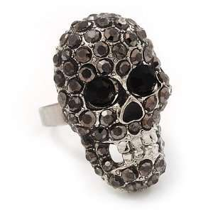 Dazzling Black Crystal Skull Ring In Rhodium Plated Metal   Adjustable
