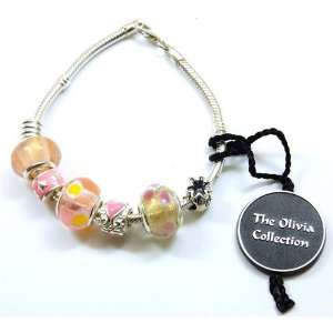 TOC BEADZ 925 Silver Pink Money Bag Bead Bracelet Jewelry