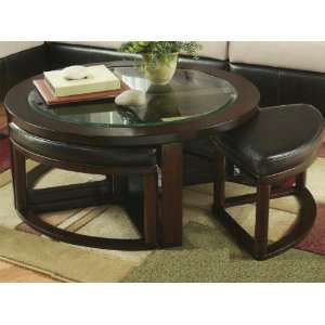 Solid Wood Glass Top Coffee Table w/ Stools Furniture & Decor
