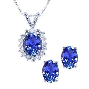 Oval Tanzanite & Diamond 14K White Gold Pendant Earring Set Jewelry